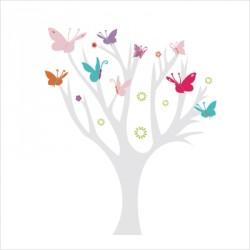 Stickers Arbre à Papillons multicolores
