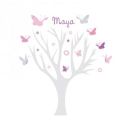 Stickers Arbre à Papillons rose et gris