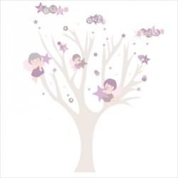 Stickers arbre douce nuit étoilée fille