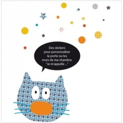 Stickers Ardoise chat bleu