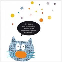 Stickers Ardoise chat bleu