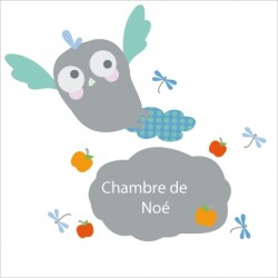Stickers Ardoise hibou bleue