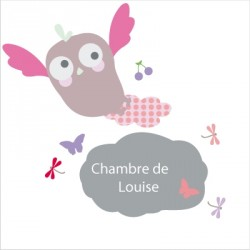 Stickers Ardoise hibou rose