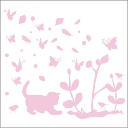 Stickers chaton rose