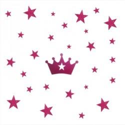 Stickers couronne et etoiles rose personnalisable