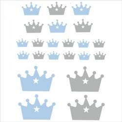 Stickers couronnes bleu et gris