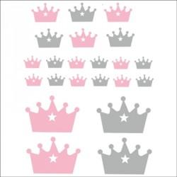 Stickers couronnes rose et gris