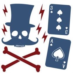 Stickers Décor tête de mort et as de pique bleu