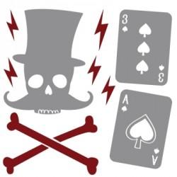 Stickers Décor tête de mort et as de pique gris