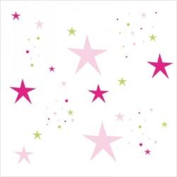 Stickers Etoiles Magiques roses et vert printemps
