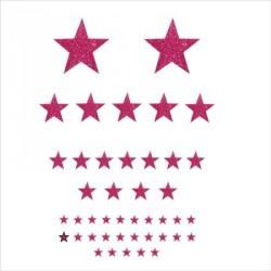 Stickers Etoiles pailleté rose