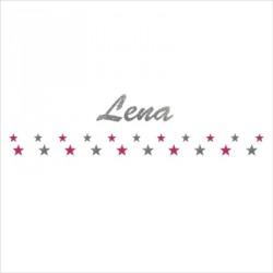 Stickers Frise étoiles argent et rose prénom argent