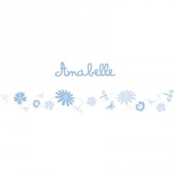 Stickers Frise fleurs bleu