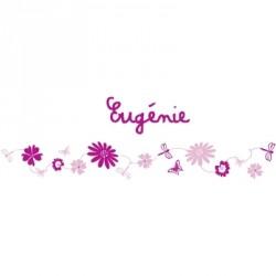 Stickers Frise fleurs rose