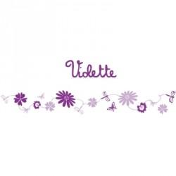 Stickers Frise fleurs violet