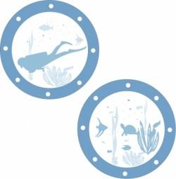 Stickers Hublots Poisson + Plongeur