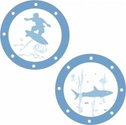 Stickers Hublots Surfeur et Requin