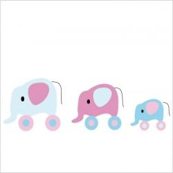 Stickers La famille éléphant Décor mauve