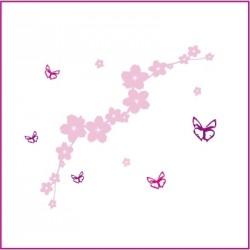 Stickers Le jardin aux papillons - Rose