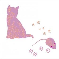 Stickers Lili la chatte et léa la petite souris - Rose