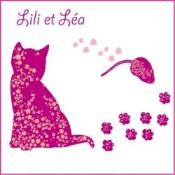 Stickers Lili la chatte et léa la petite souris - Rose Fushia