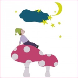Stickers Lutin au clair de lune