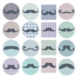 Stickers moustaches pastelles