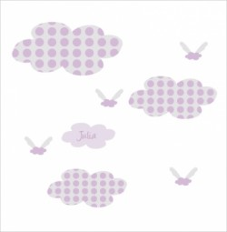 Stickers Nuages à pois mauve