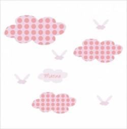 Stickers Nuages à pois roses
