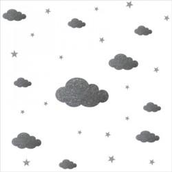Stickers nuages et etoiles argent