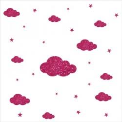 Stickers nuages et etoiles rose