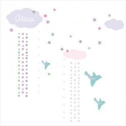 Stickers Nuages et pluie de fleurs