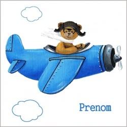 Stickers ours en avion bleu dans les nuages