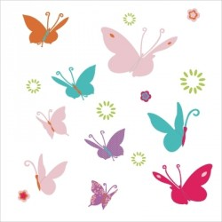 Stickers Papillons multicolores bleus et roses