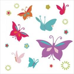 Stickers Papillons multicolores violet et fushia