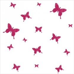 Stickers papillons pailleté rose  personnalisable
