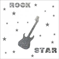 Stickers rock star pailleté argent  personnalisable