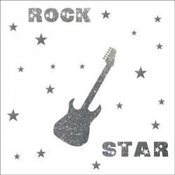 Stickers rock star pailleté argent  personnalisable