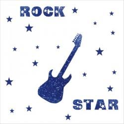 Stickers rock star pailleté bleu  personnalisable
