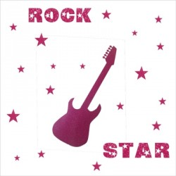 Stickers rock star pailleté rose  personnalisable