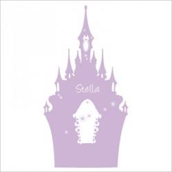 Stickers tête de lit le château enchanté personnalisable mauve