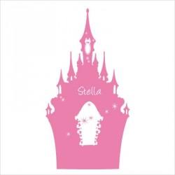 Stickers tête de lit le château enchanté personnalisable rose soutenu