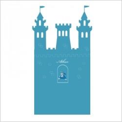 stickers t te de lit le ch teau fort personnalisable bleu canard lili pouce boutique d co. Black Bedroom Furniture Sets. Home Design Ideas