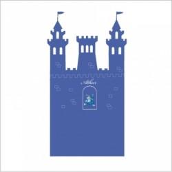 Stickers tête de lit le château fort personnalisable bleu roi