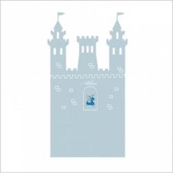 Stickers tête de lit le château fort personnalisable gris bleuté