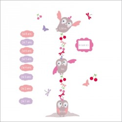 Stickers Toise hiboux rose