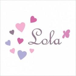 Stiker prénom Lola coeurs
