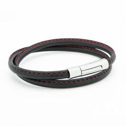 Bracelet Le Surpiqué rouge - Acier
