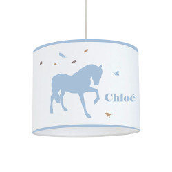 Suspension cheval plume bleu ciel personnalisable
