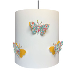 Suspension papillons 3D liberty  Eloise aile jaune